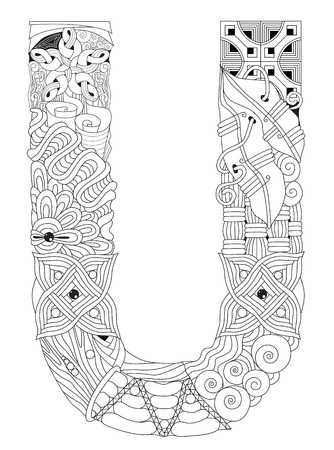 Letter U for coloring. Vector decorative zentangle object