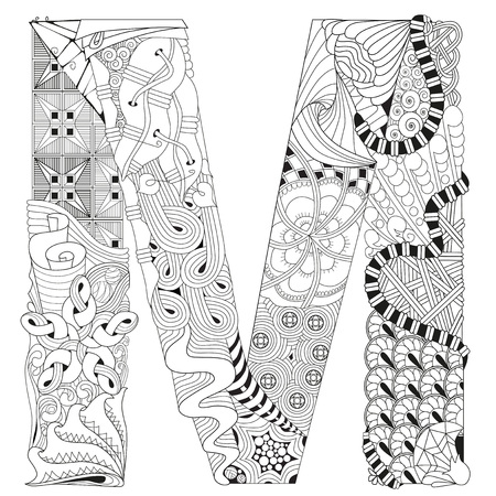Letter M for coloring. Vector decorative zentangle object
