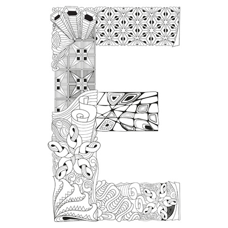Letter E for coloring. Vector decorative zentangle object