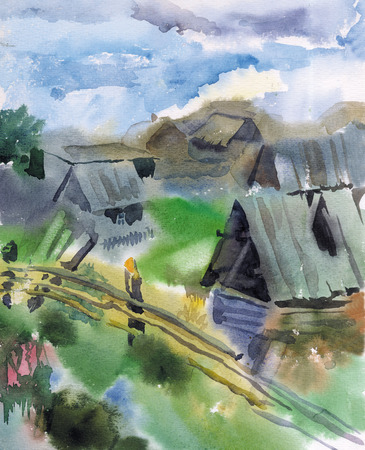 Watercolor picture of a Siberian village