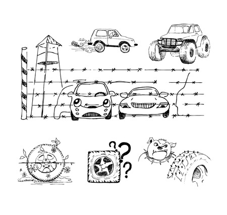 crosscountry: Funny sketches about cars, wheels and their accessories Illustration