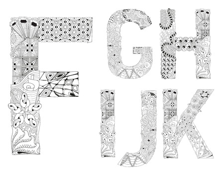 Hand-painted art design. Black and white hand drawn illustration alphabet. Part 2