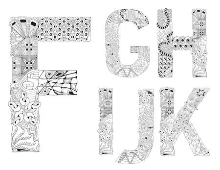 Hand-painted art design. Black and white hand drawn illustration alphabet. Part 2
