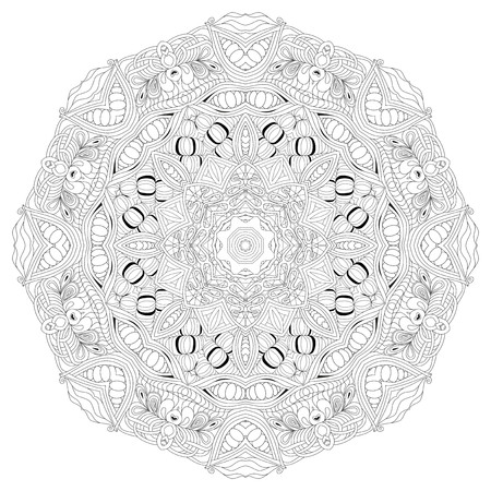 lace pattern: Hand drawn zentangle mandala for coloring page.