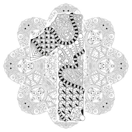 numero: Hand-painted art design. Adult anti-stress coloring page. Black and white hand drawn illustration mandala with numero one for coloring book