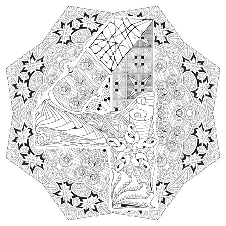 numero: Hand-painted art design. Adult anti-stress coloring page. Black and white hand drawn illustration mandala with numero four for coloring book