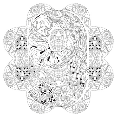 numero: Hand-painted art design. Adult anti-stress coloring page. Black and white hand drawn illustration mandala with numero nine for coloring book