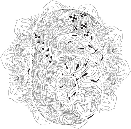 numero: Hand-painted art design. Adult anti-stress coloring page. Black and white hand drawn illustration mandala with numero six for coloring book