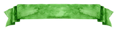 isolate: Watercolor hand-drawn illustration. Green waving flag or banner