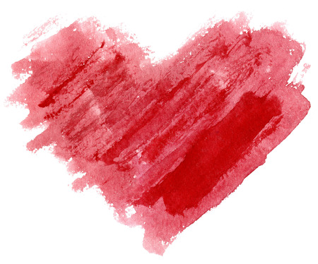 watercolor heart drawn by brush