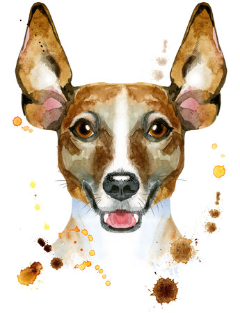 Cute Dog. Dog T-shirt graphics. watercolor jack russell terrier illustration
