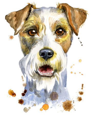 Cute Dog. Dog T-shirt graphics. watercolor airedale terrier illustration