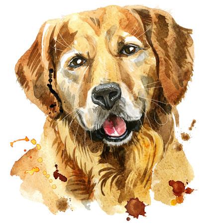 Perro mono. Gráficos de camiseta de perro. Ilustración acuarela golden retriever Foto de archivo - 83163953
