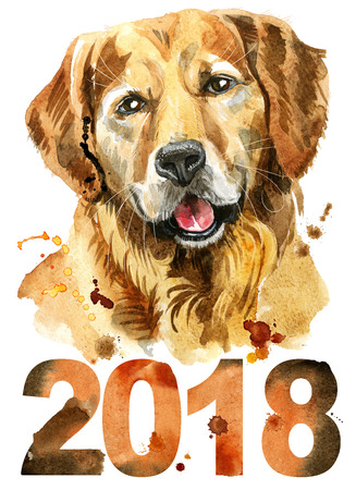 Cute Dog. Dog T-shirt graphics. watercolor golden retriever illustration. New year 2018 写真素材