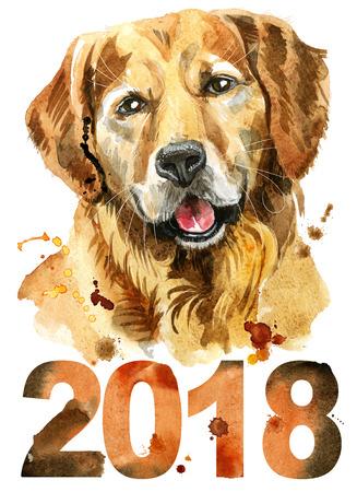 Perro mono. Gráficos de camiseta de perro. Ilustración acuarela golden retriever. Año nuevo 2018 Foto de archivo - 83401806