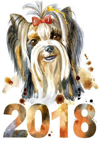 Dog, yorkie on white background. Hand drawn sweet pet illustration. Symbol of the year 2018