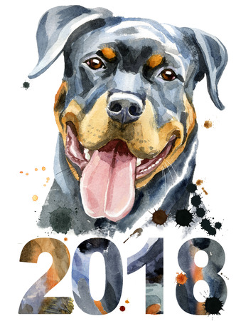 Watercolor portrait of rottweiler Stock Photo