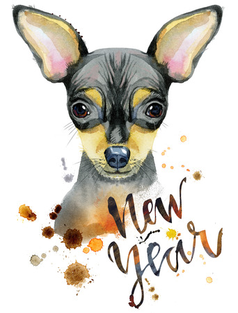 Watercolor portrait of toy terrier Stock Photo