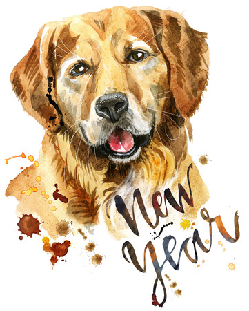 Watercolor portrait of golden retriever