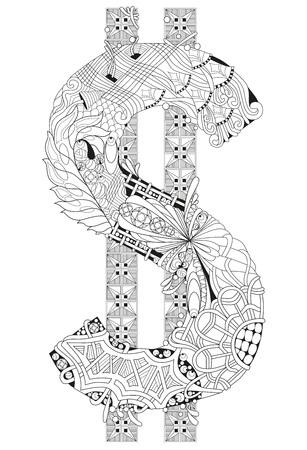 Diseño de arte hecho a mano . antiestrés coloración antiestrés colorear negro y blanco dibujado a mano ilustración para colorear libro Foto de archivo - 87467312
