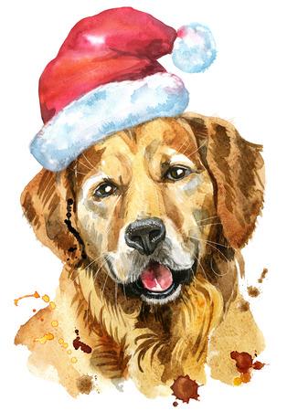 Watercolor portrait of golden retriever with Santa hat