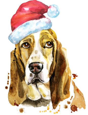 Watercolor portrait of basset hound with Santa hat