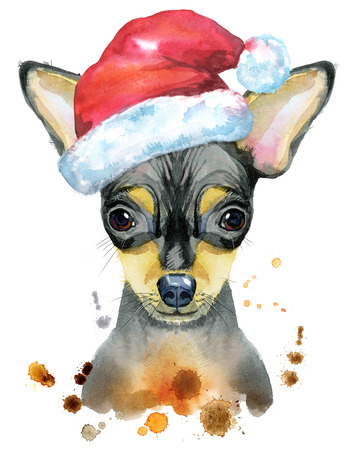 Watercolor portrait of toy terrier with Santa hat