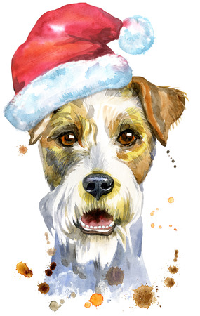 Watercolor portrait of airedale terrier dog with Santa hat Stock Photo