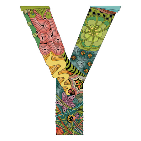 Letter Y zen tangle. Vector decorative object