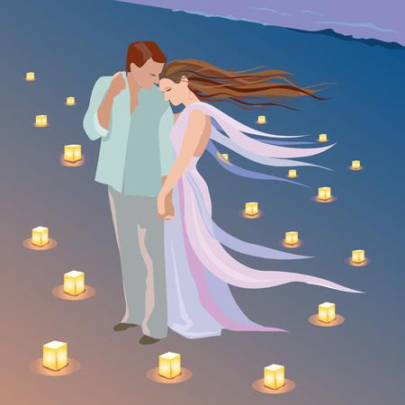 Date romantique sur la plage avec des bougies Banque d'images - 88548064
