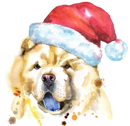 Watercolor portrait of chow-chow dog with Santa hat