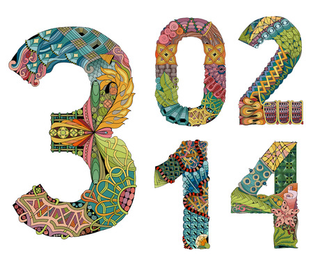 Set of numbers zero, one, two, three, four vector decorative objects Vettoriali