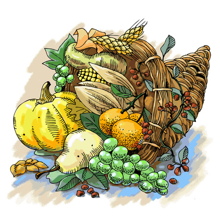 Illustration of a Thanksgiving cornucopia full of harvest fruits and vegetables