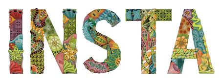 Hand-painted art design. Hand drawn illustration word INSTA for t-shirt and other decoration. Ilustração