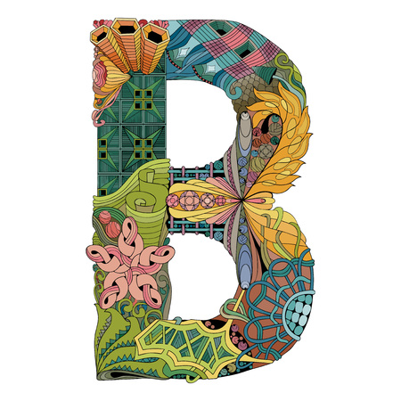 Letter B with abstract. Vector decorative object