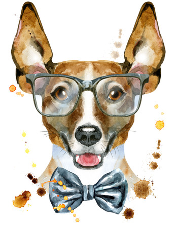 Watercolor portrait of jack russell terrier with bow-tie and glasses Stock Photo