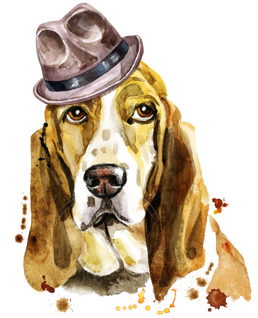 Watercolor portrait of basset hound in a brown hat