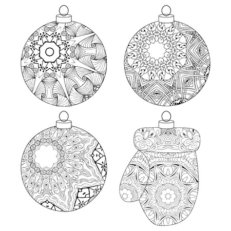 Christmas decorations zentangle styled with clean lines for coloring book for anti stress, T - shirt design, tattoo and other decorations