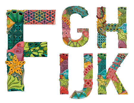 Hand-painted art design. Colorfull hand drawn illustration alphabet. Part 2