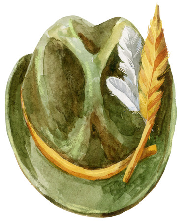 Green Tyrolean hat with feathers for Oktoberfest Stock Photo