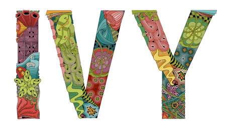 Hand-painted art design. Hand drawn illustration word IVY for t-shirt and other decoration
