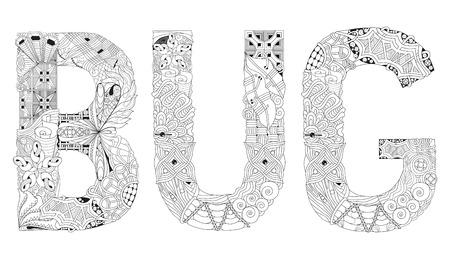 Hand drawn illustration word BUG