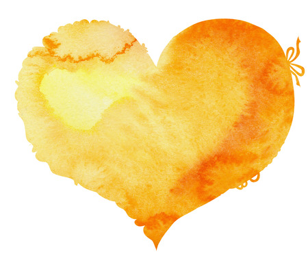 watercolor yellow heart with light and shade, painted by hand Stock Photo
