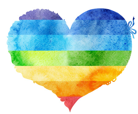 watercolor rainbow heart with light and shade, painted by hand Banco de Imagens