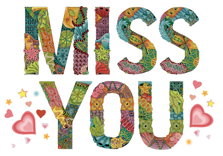 Word miss you Vector decorative zentangle object