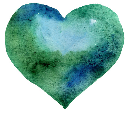 watercolor dark green heart Reklamní fotografie