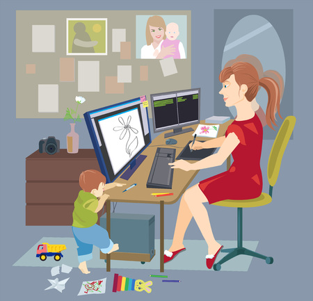Mother working on maternity leave at home and her baby