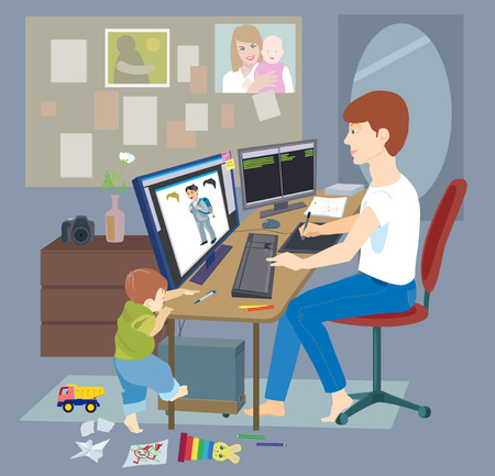 Young father, man working from home, freelancer