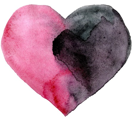 watercolor pink and black heart with light and shade, painted by hand Stock Photo