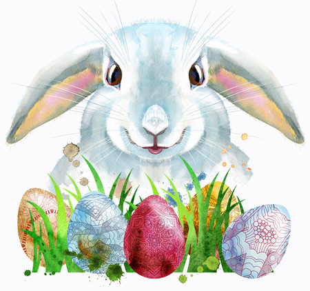 Watercolor illustration of a white rabbit with eggs and grass Stock Photo